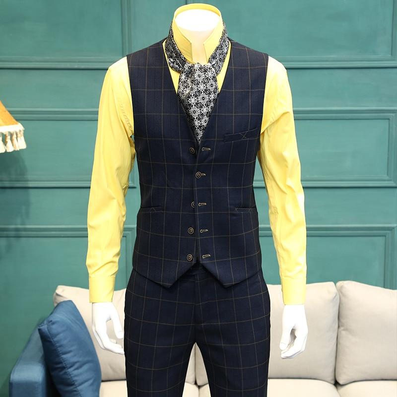 2019 New Blue Plaid 한 벌 Vest Groom 빈티지 Vests Man Single 브레스트 Vest 남성 패션 Retro 웨딩 Dress 양복 조끼 365mj011