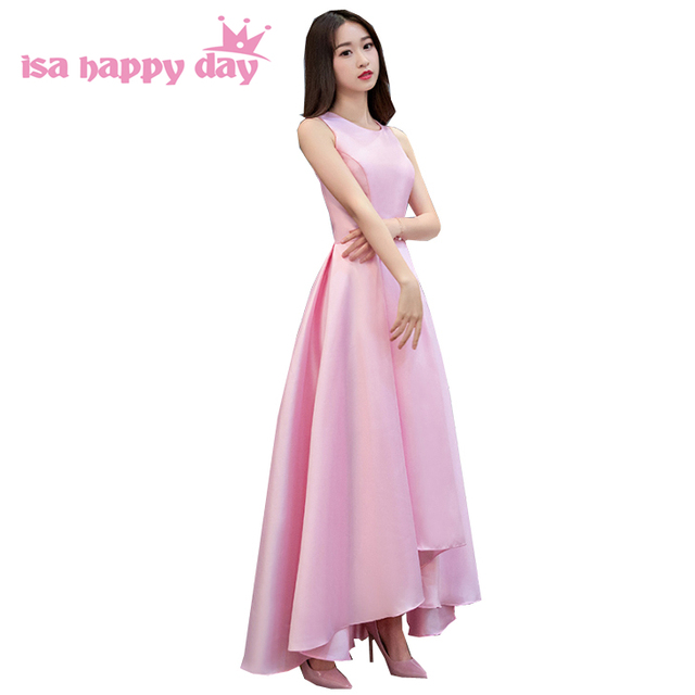 Bridesmaide o neck satin rosa mädchen einfache tee länge kleid ...