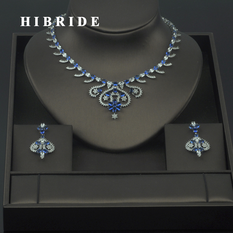 HIBRIDE Wholesale Dubai Jewelry Sets 5 Colors Available Flower Cubic Zirconia Necklace Earring Sets For Bridal Party Gifts N-301HIBRIDE Wholesale Dubai Jewelry Sets 5 Colors Available Flower Cubic Zirconia Necklace Earring Sets For Bridal Party Gifts N-301