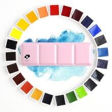 Paul rubens aquarela profissional 12/24/48 cores, conjunto de pintura de cor sólida, caixa de metal, cor brilhante, pigmento portátil para pintura de cor