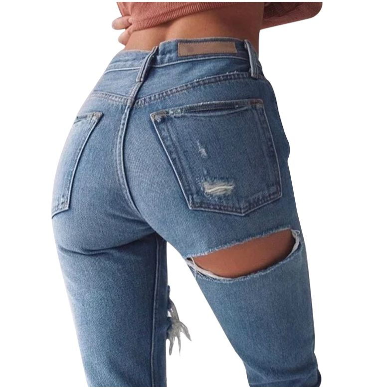 IMC Women Petite Extreme Ripped Jeans Fashion Distressed Design Non stretch denim Ankle Length ...