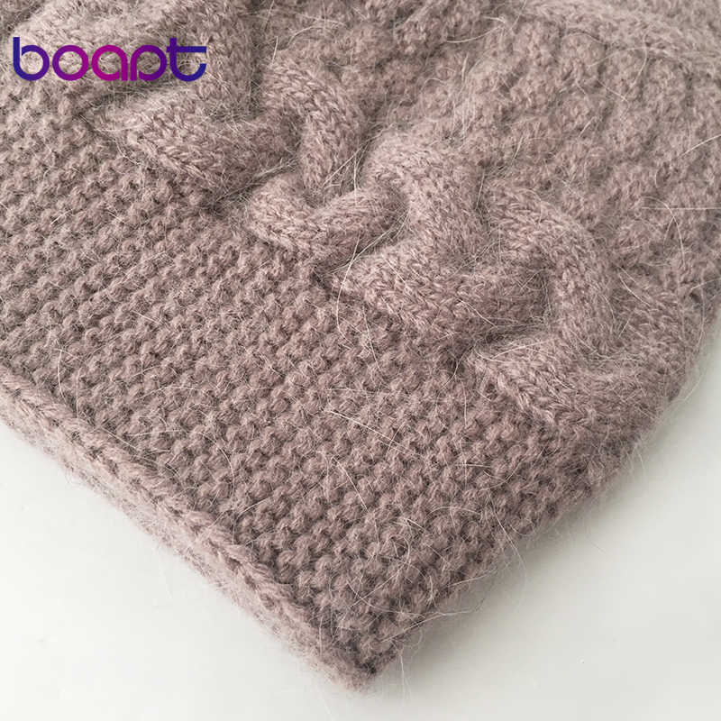 [Boapt] Memutar Kepang Rajutan Angora Wool Double Layer Bonnet Topi Wanita Musim Dingin Topi untuk Perempuan Topi Wanita skullies Beanies