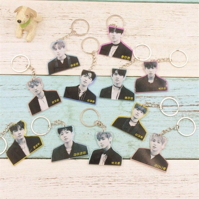 Youpop Kpop Wanna one Album Kang Daniel PARK JI HOON Acrylic Plastic Key Chain K-pop Key Ring Pendant Keyring Keychain CX-YSK10