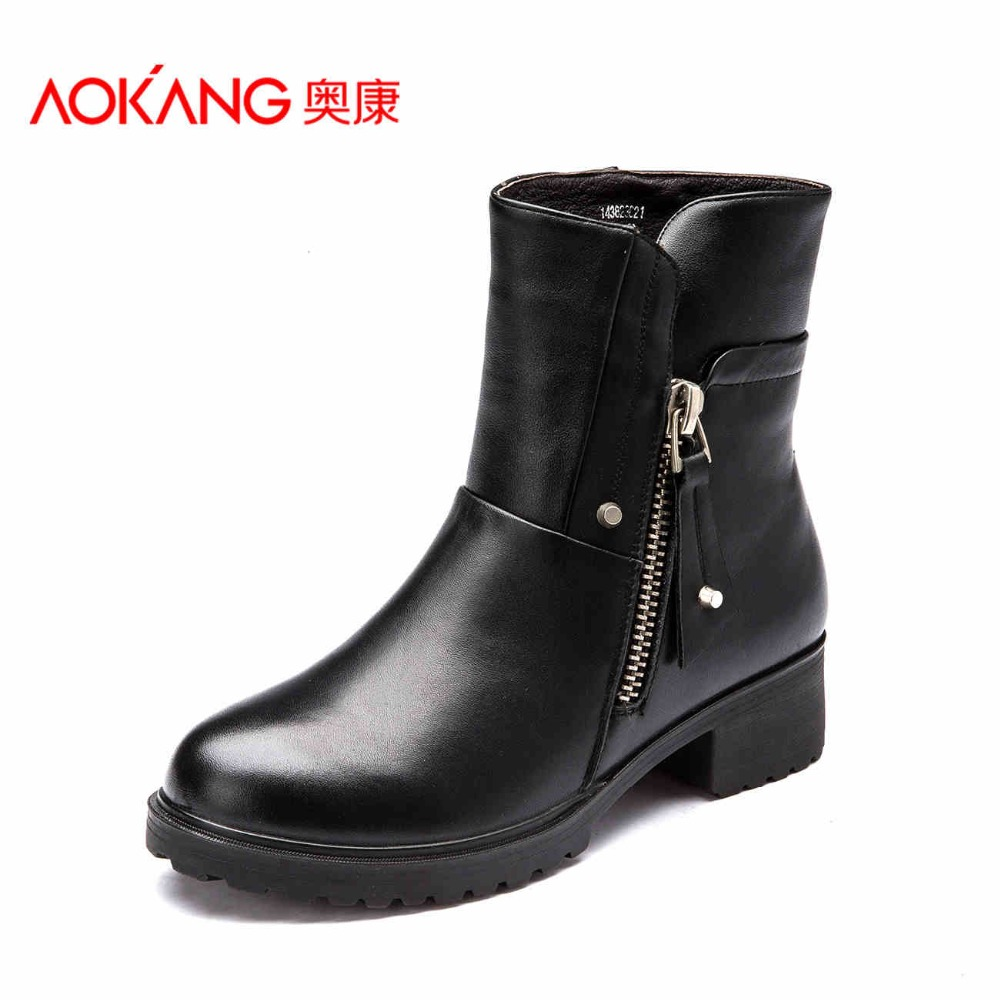 AOKANG 2016 autumn&winter women boots soft Genuine leather women shoes fashion boots for lady  female shoes free shipping