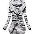 2016 Europa América Del abrigo de invierno de las nuevas mujeres de terciopelo grueso encapuchado cardigan de punto chaqueta delgada abrigos largos ropa vestidos LBD1902