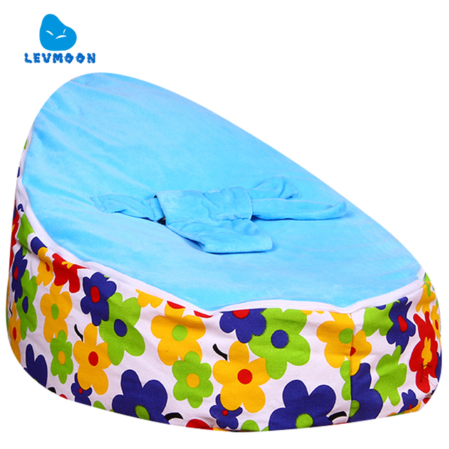 Levmoon Medium Blue Plum Flower Bean Bag Chair Kids Bed For Sleeping Portable Folding  Child Seat Sofa Zac Without The Filler