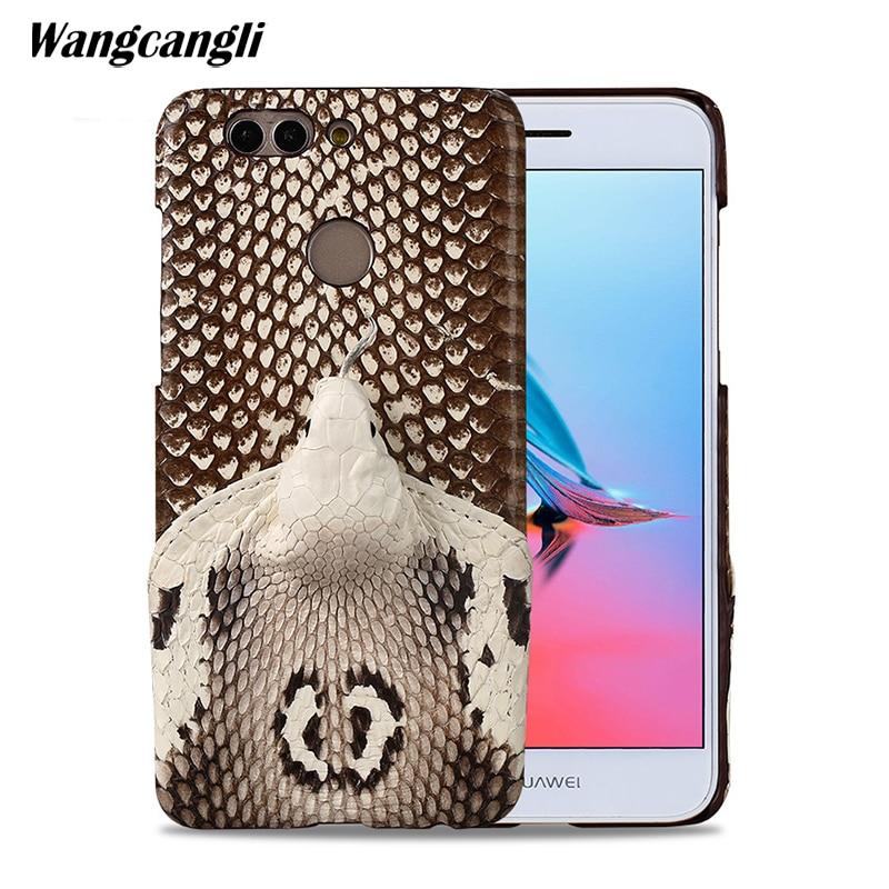 Marque véritable peau de serpent cas de téléphone Pour huawei Nova2 plus couverture de téléphone étui de protection en cuir téléphone pour huawei p20 lite cas