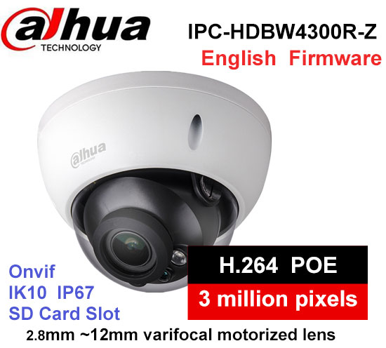 Dahua IPC-HDBW4300R-Z H2.64 MJPEG 2.8mm ~12mm varifocal motorized lens network camera 3MP IR50M IP camera wiht POE цена