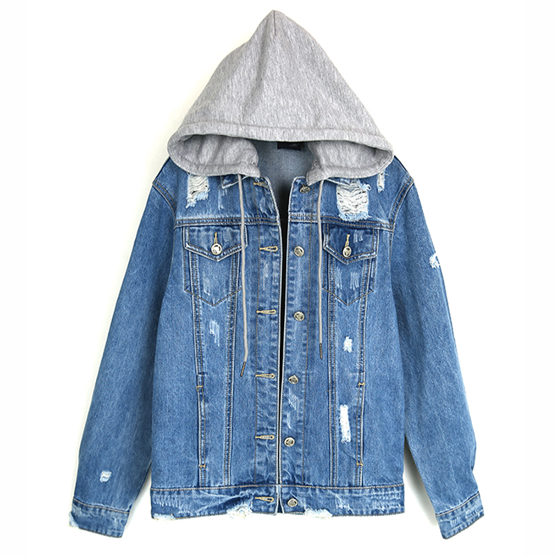 ce32b0e1284 2018 New Blue Jeans Jacket Oversized Denim Jacket Women Autumn Jeans Coats  Outwear Chaquetas Mujer Detachable Hat Female Jackets