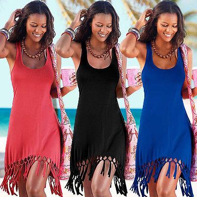 Sexy Women Summer Clothing Dresses  Casual Sleeveless Tassels Beach Dress Women Black Red Blue Dress Clothes