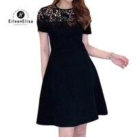 2019 летнее платье женское с коротким рукавом Кружевное вечерние платье повседневное ТРАПЕЦИЕВИДНОЕ женское платье