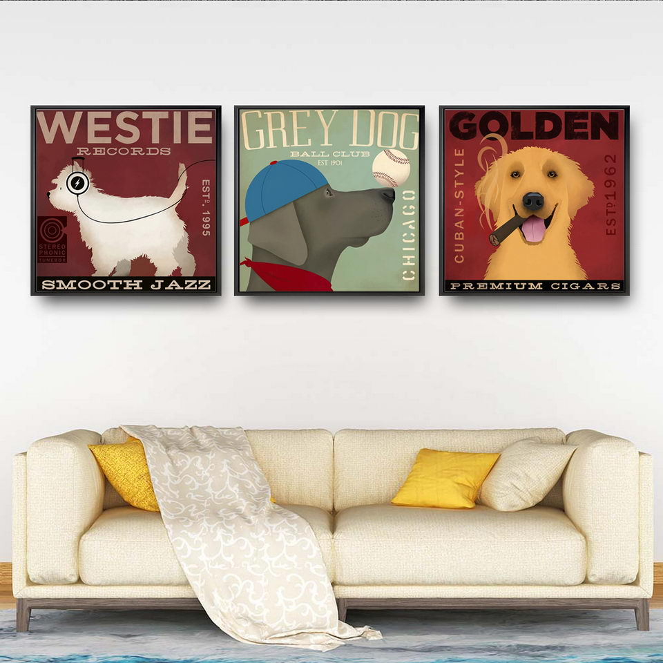 Dog Pug Watercolour  Print Canvas Premium Wall Decor Poster