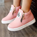 2017 Nova chegou moda Primavera meninas botas crianças sapatos baixos zip preto vermelho rosa PU tornozelo sapatas do miúdo tamanho 26-36