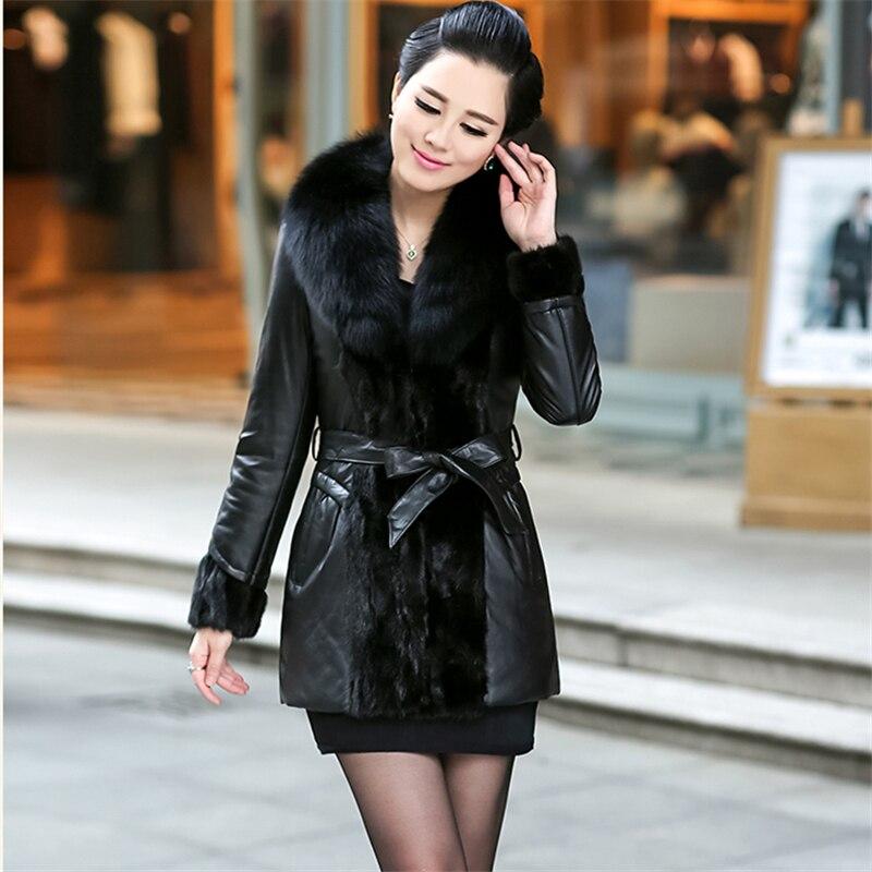 Véritable Mince Hiver Cuir La Parka Qualité En Femmes De Black 6xl Survêtement Long Plus Haute Veste 2019 Renard Nouvelle Vison Col Chaud Taille Fourrure Noir qn0wYaxt