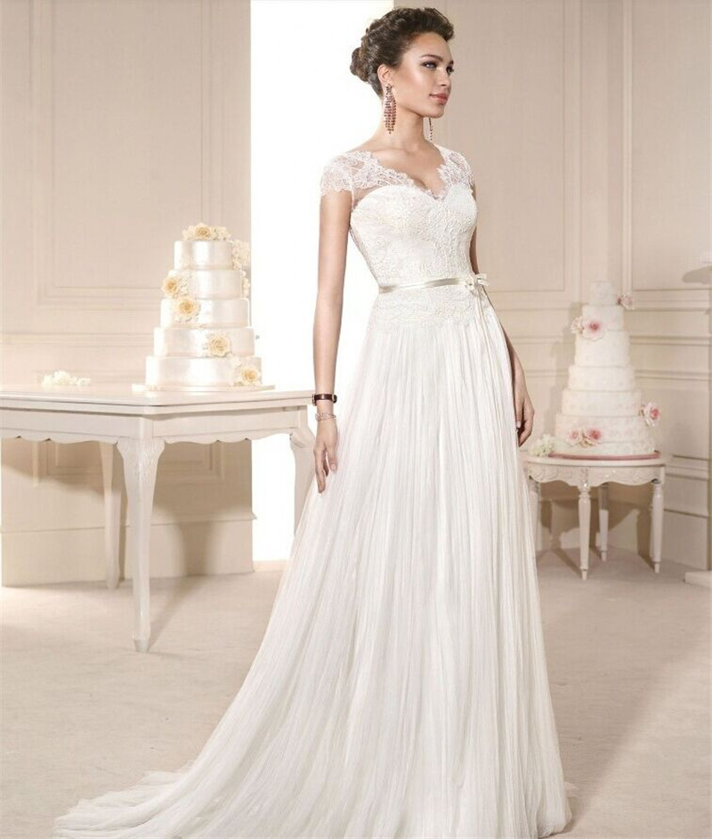Vintage Castle Simple Lace Wedding Dresses with Cap Sleeve for Women ...