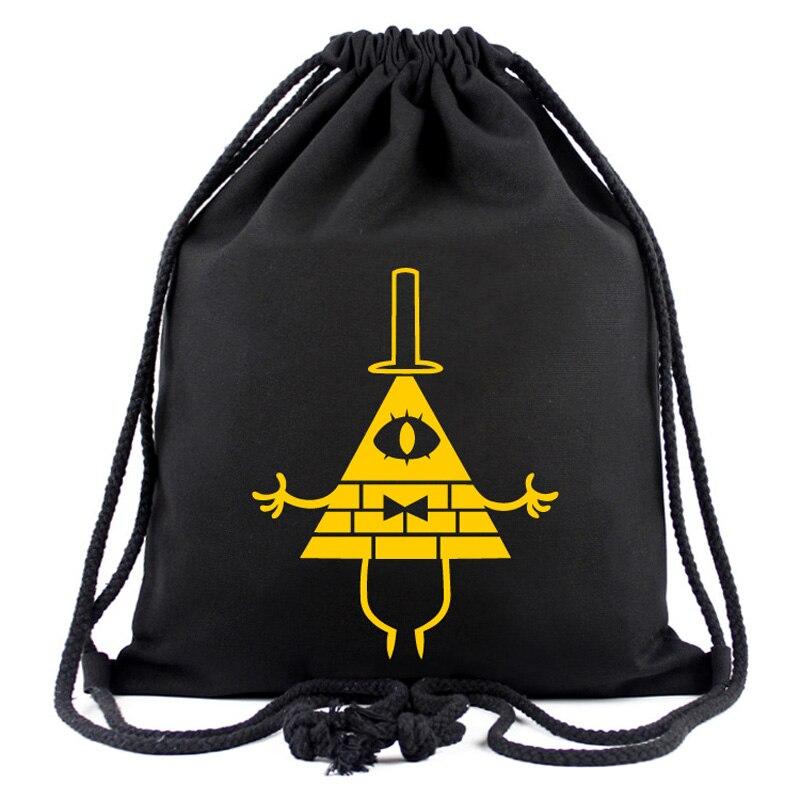 Gravity Falls Anime Black Drawstring Bag Black String Backpack Men and Women Casual Travel Storage Bag