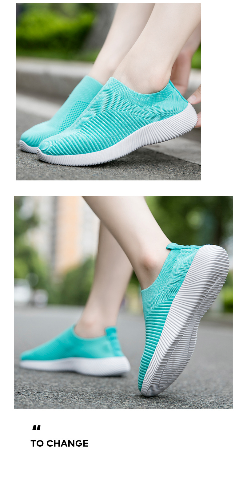 Slip On Flying Knit Women Fashion Sneakers Breathable Flat Heel Casual Shoes Round Toe Low Top Women Shoes XU034 (12)