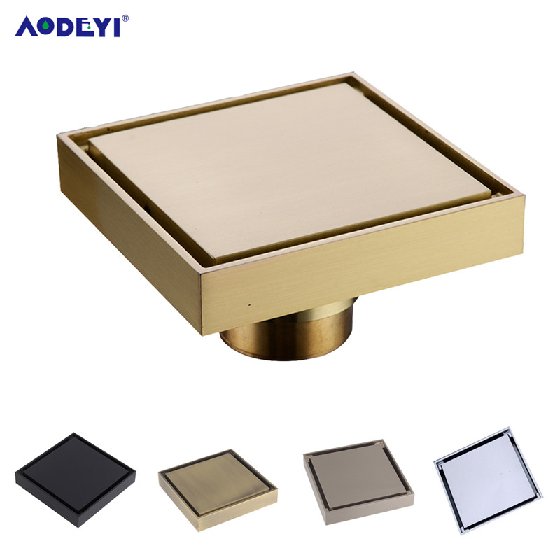 AODEYI Free Shipping New 100% Brass Shower Drain Bathroom Floor Drain Tile Insert Square Anti-odor Floor Waste Grates 100X100