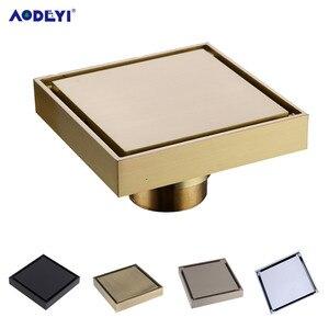 AODEYI Free Shipping New 100% Brass Shower Drain Bathroom Floor Drain Tile Insert Square Anti-odor Floor Waste Grates 100X100(China)