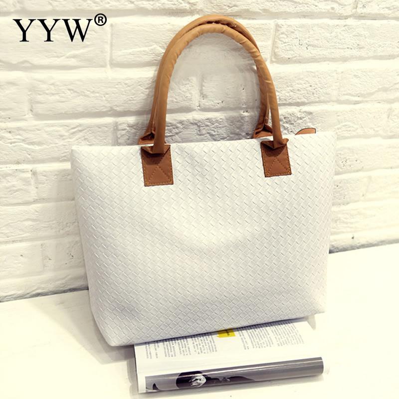2018 Casual Pu Leather Handbag Korean Large Capacity Tote Shopping Bags For Women Travel Handbags Female White Pink Yellow Bags
