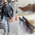 Ретро стиль kanye west мужчины сапоги Высокое качество челси сапоги мода осень ботильоны Натуральная кожа 3 цветов мужской обуви