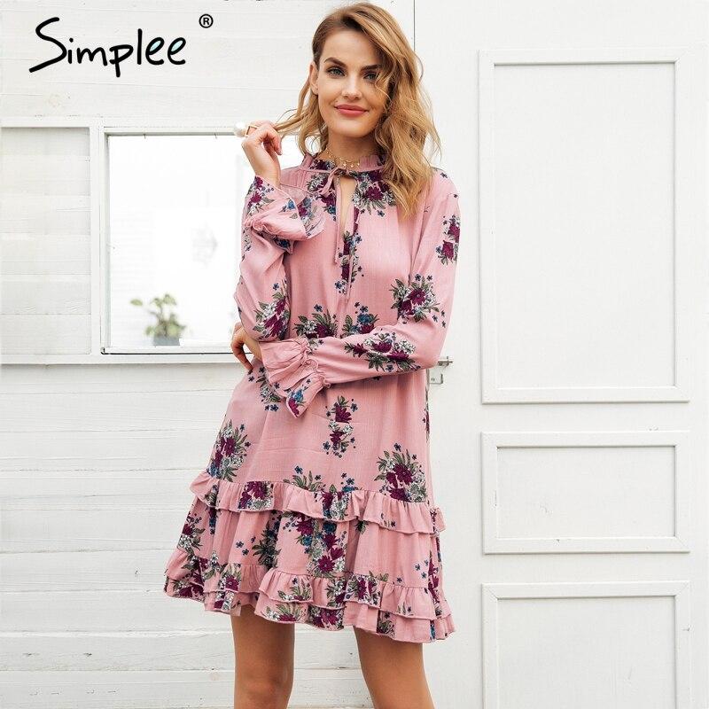 Robe à lacets à col en v à manches longues pour femmes 2019 printemps streetwear boho robe femme - 2