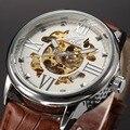 Relógio mecânico automático dos homens relógios homens sewor esqueleto relógios top marca de luxo de couro branco masculino negócios relogio masculino