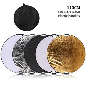 Image 1 - 43 110cm 5 in 1 taşınabilir katlanabilir yuvarlak el ışık reflektörü, flaş aksesuarları fotoğraf stüdyosu için taşıma çantası ile