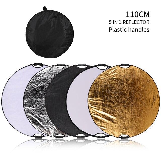 43 110cm 5 in 1 taşınabilir katlanabilir yuvarlak el ışık reflektörü, flaş aksesuarları fotoğraf stüdyosu için taşıma çantası ile