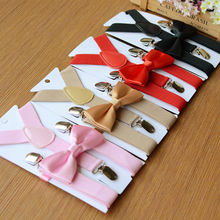 HOT Fashion Adjustable and Elasticated Kids Suspenders With Bowtie Bow Tie