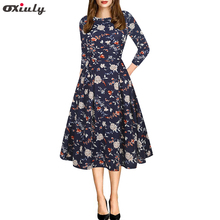 Oxiuly Fit and Flare Print Dress Blue Three Quarter Sleeve A Line Dress Elegant Work Floral Dress with Pocket Fall 2018 stripe floral print fit and flare dress