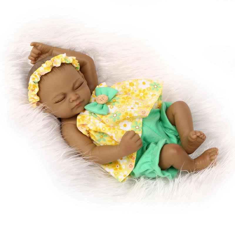 cacefb1090d Native American Indian Black Babies 11 Inch Full Silicone Vinyl Lifelike Newborn  Reborn Twin With Cultural Clothes Kids Playmate-in Dolls from Toys ...