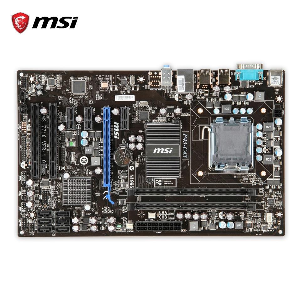 MSI P43-C43 Original Used Desktop Motherboard P43 Socket LGA 775 DDR3 8G SATA2 USB2.0 ATX msi g41m p43 combo original used desktop motherboard g41 socket lga 775 ddr3 8g sata2 usb2 0 micro atx