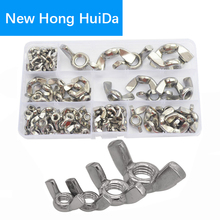 90pcs Butterfly Nut Metric Threaded  Ingot Wing Nuts Hand Tighten Nut M3 M4 M5 M6 M8 M10 M12 Assortment Kit 304 Stainless Steel все цены