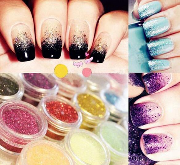 12 pcs/lot Nail Glitter Polish Sparkly Dust powder Nail Art Tip Decoration gel UV Free shipping 2015 Hot