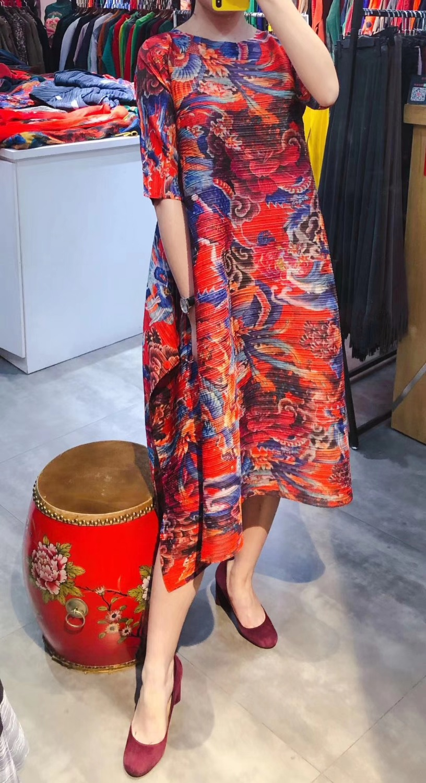 GRATIS VERZENDING fashion Chinese stijl print geplooide losse o enck half mouw vrouwen JURK IN VOORRAAD - 2