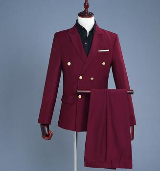 Double-breasted men suits designs homme terno stage costumes for singers men wine red blazer dance clothes men jacket star style