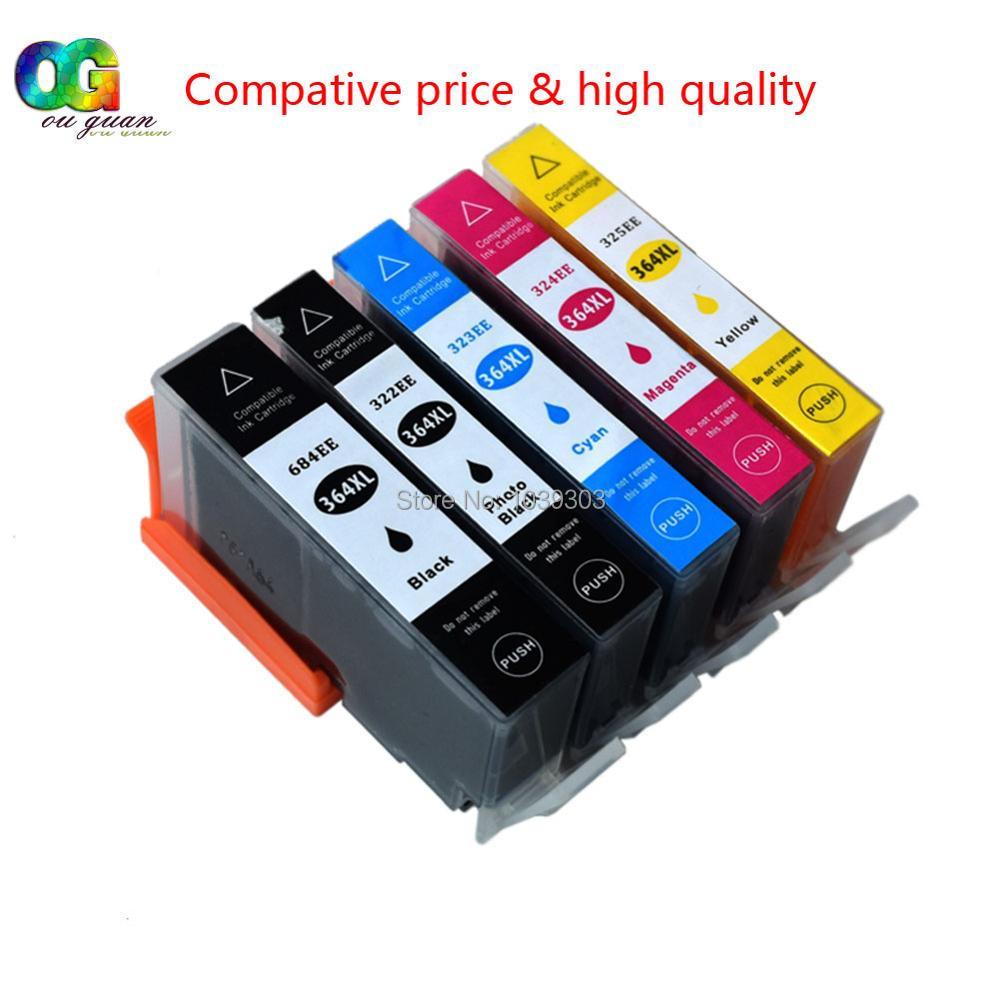 5x hp 364 xl hp364 patrone kompatibel für photosmart DeskJet 3070A 3520...