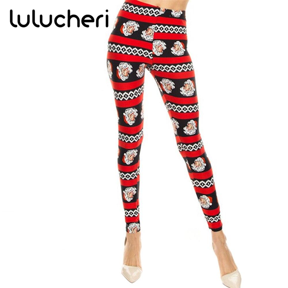 2018 Christmas Printing Leggings For Women Lady Elasticity Skinny Breathable Stretchy Pants High Waisted Leggins Fitness Legins