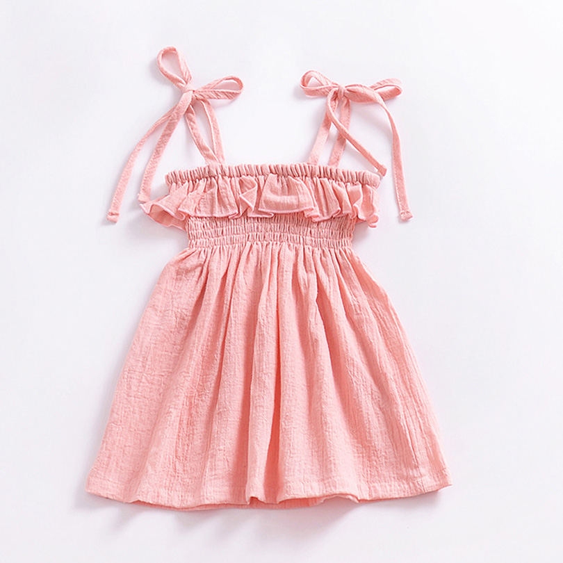 2018 New Summer Baby Girls Dresses Solid Pink Sundress for Girls Beach Holiday Children Dress Kids Clothes Vestido Linen Cotton summer kids dresses for girls pineapple lemon girl dresses cotton sleeveless children sundress sarafan clothes for girls 2 7y