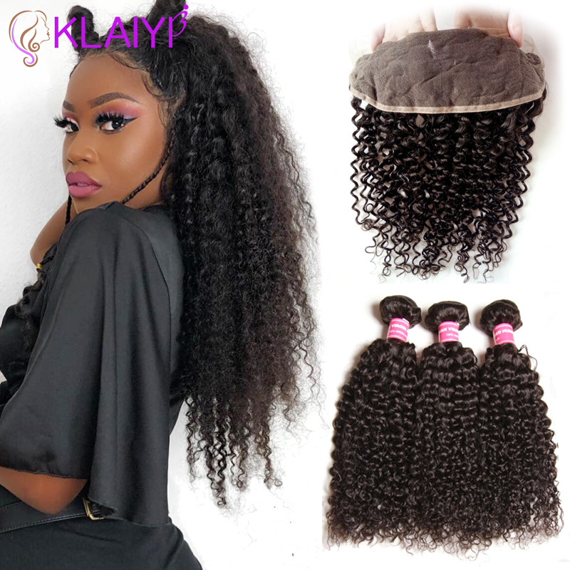Klaiyi Hair Brazilian Curly Hair 13 * 4 Snörning Frontal Closure Med - Mänskligt hår (svart)