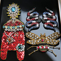3D Handmade beaded snake cicada Patches for clothing DIY sew on sequin rhinestone parches Beaded applique parches bordados para