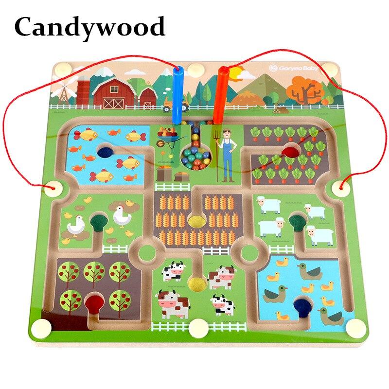 Candywood en bois de haute qualité magnétique balles stylo labyrinthe animaux ferme labyrinthe enfants éducation apprentissage Imagination jouets pour bébé