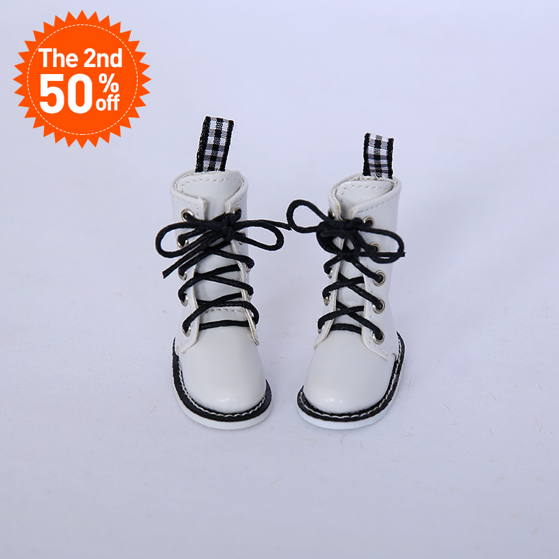 Free Shipping BJD Shoes 1/6 White High Casual Boots For Lillycat Yosd BJD Dolls WX6-39 Length 5.2cm Width 2.5cm Doll Accessories image