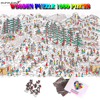 MOMEMO Ski Field Cartoon 1000 Pieces Giant Jigsaw Puzzle Wooden Puzzle 1000 for Adults Kids Teens Puzzles Toys 1000 Piece Puzzle
