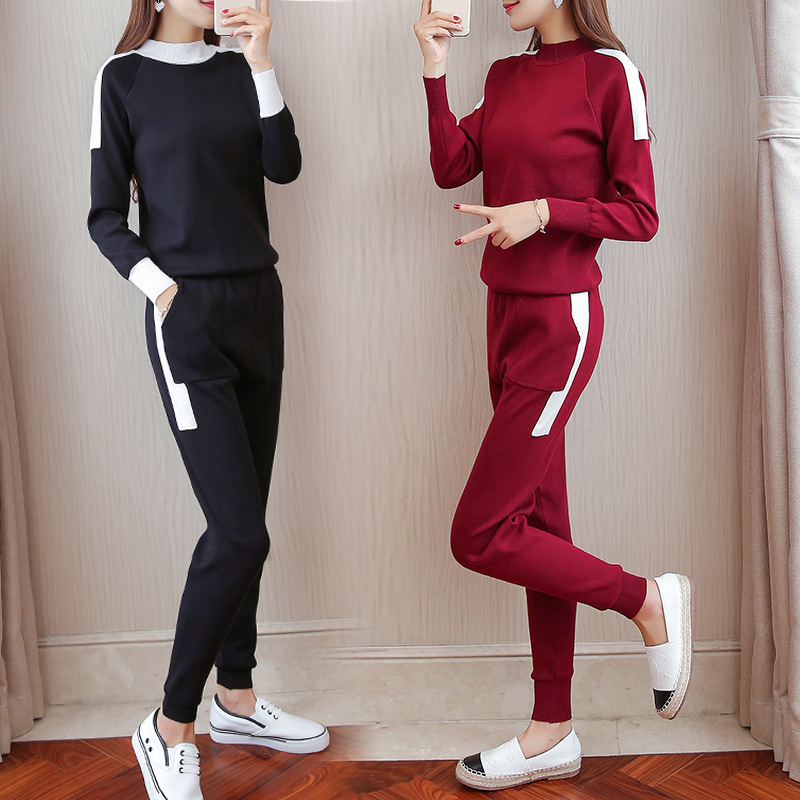 Womens suit female 2018 spring and autumn new fashion ladies knitted stitching casual two / piece