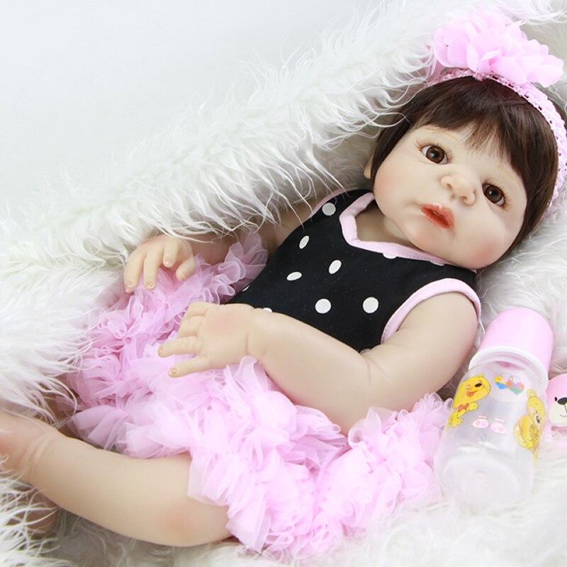 Oyuncaklar ve Hobi Ürünleri'ten Bebekler'de 23 inç Gerçekçi Kız Bebek Bebek Tam Silikon 57 cm Yenidoğan Bebekler Oyuncak Yeniden Doğmuş bebek Pembe Elbise Çocuklar Doğum Günü xmas Hediyeler'da  Grup 1