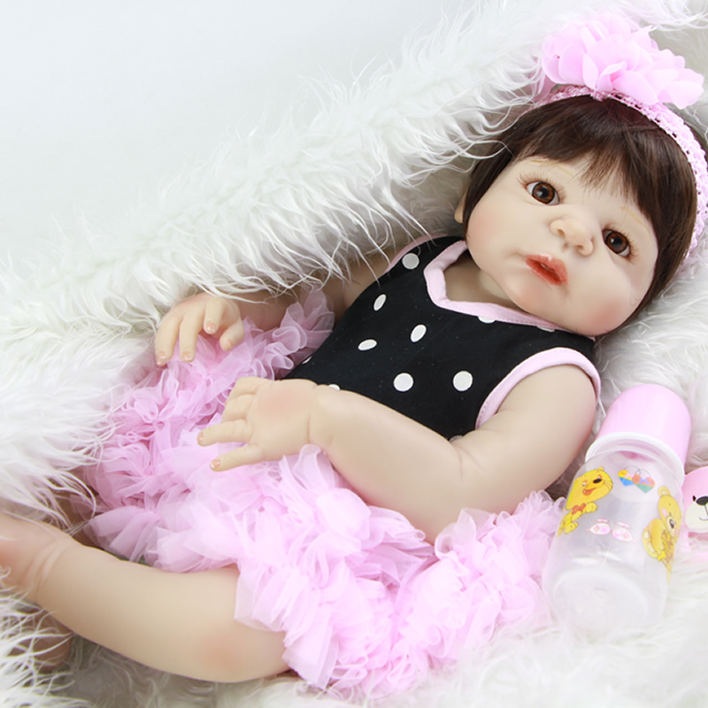 Lovely Girl Baby Doll Lifelike 23 Inch Silicone Vinyl Newborn Babies Toy Waterproof Dolls With Dress Kids Birthday Xmas Gift cute 28 inch free shipping silicone reborns baby girl lifelike newborn babies dolls lovely girls doll children birthday gift