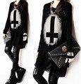 ¡ Caliente! Punk de Mujeres Sueltan la camisa de Algodón + Gasa Tees Camisetas Negras Tops Vintage Cruz Impreso de Manga Larga Camisas de Vestir Y0317-18C