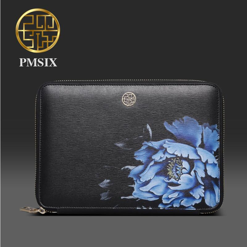 Genuine Leather handbag Pmsix 2016 Fashion Chinese Wind Evening font b Bag b font Embossed clutch